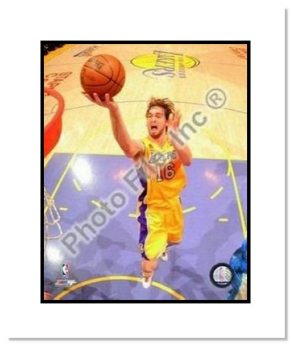 Pau Gasol Los Angeles Lakers NBA Double Matted 8x10 Photograph 2008 Playoffs Shooting