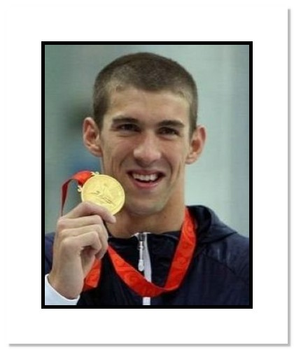 Michael Phelps 2008 USA Olympic Swimming Double Matted 8x10 Photograph with Gold Medal