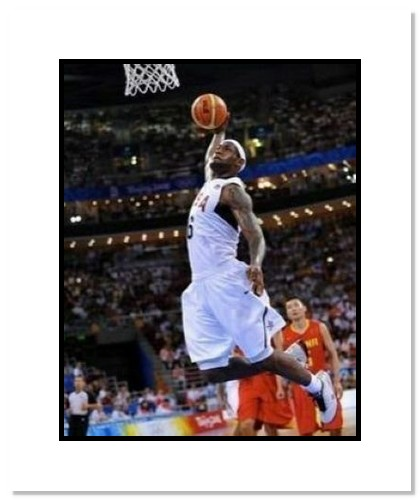 LeBron James 2008 Team USA Basketball Double Matted 8x10 Photograph Dunking