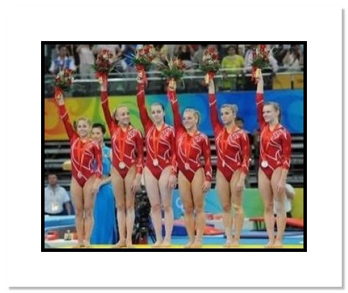 2008 USA Olympics Gymnastics Team Double Matted 8x10 Photograph All Around Silver Medal