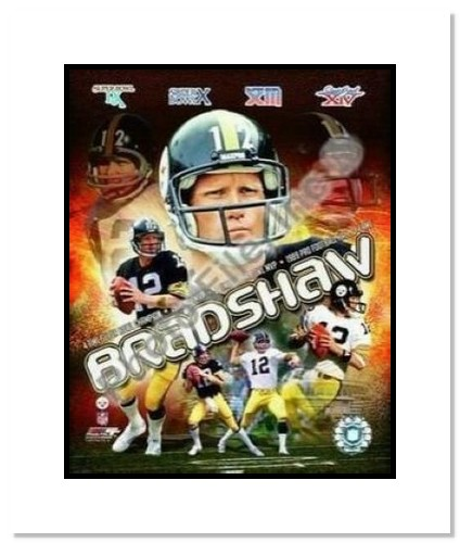 Terry Bradshaw Pittsburgh Steelers NFL Double Matted 8x10 Photograph Collage