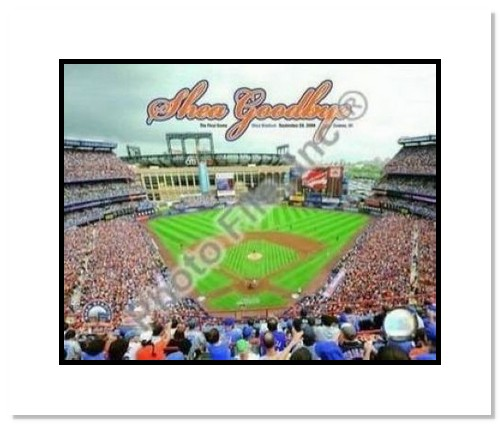 New York Mets MLB Double Matted 8x10 Photograph Shea Stadium Farewell Aerial