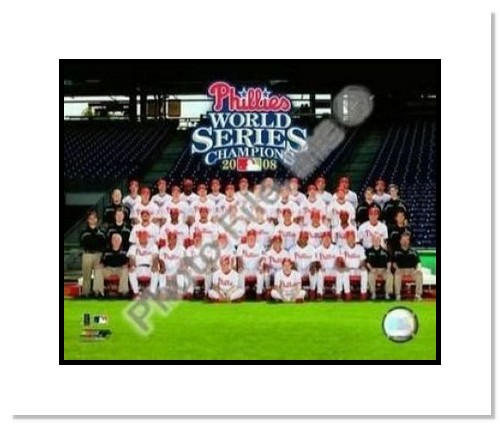 2008 Philadelphia Phillies MLB Double Matted 8x10 Photograph 2008 World Series Team Sit Down