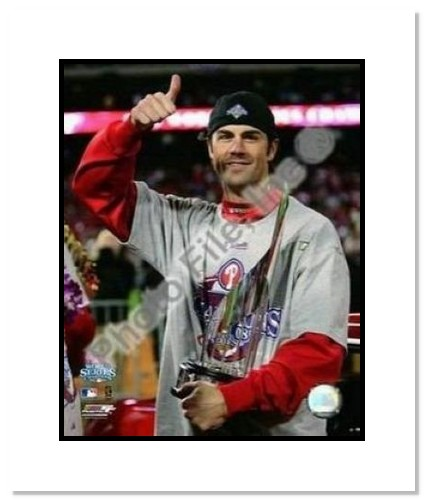 Cole Hamels Philadelphia Phillies MLB Double Matted 8x10 Photograph 2008 World Series MVP Trophy