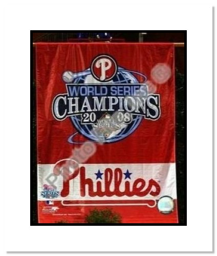2008 Philadelphia Phillies MLB Double Matted 8x10 Photograph 2008 World Series Champions Banner