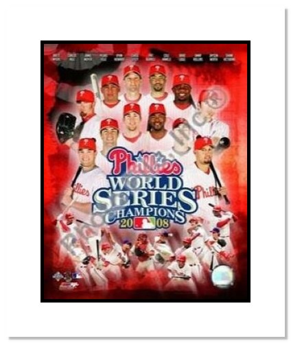 2008 Philadelphia Phillies MLB Double Matted 8x10 Photograph 2008 World Series Team Collage