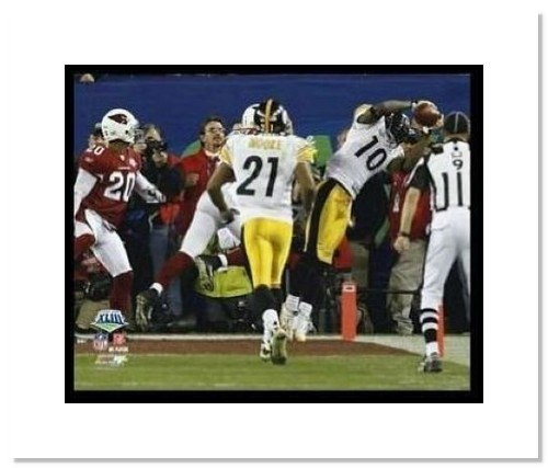 Santonio Holmes NFL Double Matted 8x10 Photograph Super Bowl XLIII Game Winning Catch TD