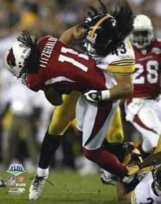 Troy Polamula Pittsburgh Steelers NFL 8x10 Photograph Super Bowl XLIII Hit on Larry Fitzgerald