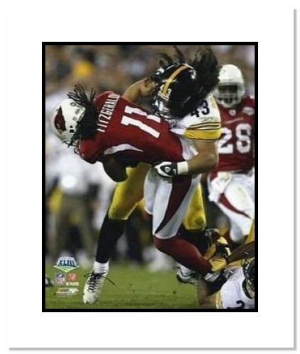 Troy Polamula Pittsburgh Steelers NFL Double Matted 8x10 Photograph Super Bowl XLIII Hit on Larry Fitzgerald