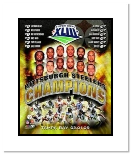 2009 Pittsburgh Steelers NFL Double Matted 8x10 Photograph Super Bowl XLIII Tampa Bay Team Collage