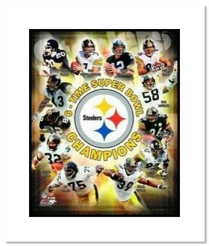 2009 Pittsburgh Steelers NFL Double Matted 8x10 Photograph Super Bowl XLIII 6 Time Champion Collage