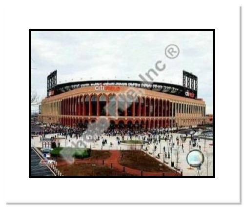 2009 New York Mets Citi Field Opening Day MLB Double Matted 8x10 Photograph Outside Stadium
