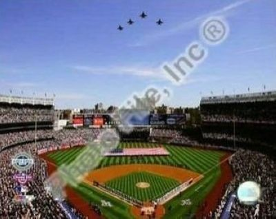 2009 New York Yankees New Yankees Stadium Opening Day MLB 8x10 Photograph Jet Flyover and American Flag