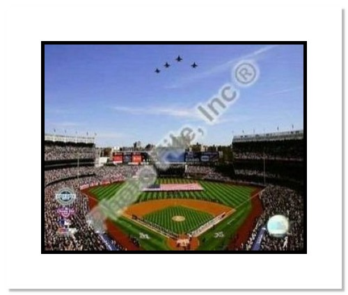 2009 New York Yankees New Yankees Stadium Opening Day MLB Double Matted 8x10 Photograph Jet Flyover and American Flag