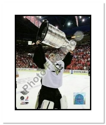 Marc-Andre Fleury Pittsburgh Penguins NHL Double Matted 8x10 Photograph 2009 Stanley Cup Finals Holding Cup