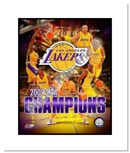 2009 Los Angeles Lakers NBA Double Matted 8x10 Photograph 2009 NBA Finals Champions Collage
