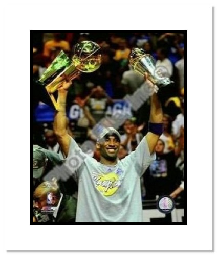 Kobe Bryant Los Angeles Lakers NBA Double Matted 8x10 Photograph 2009 NBA Finals Championship and MVP Trophy