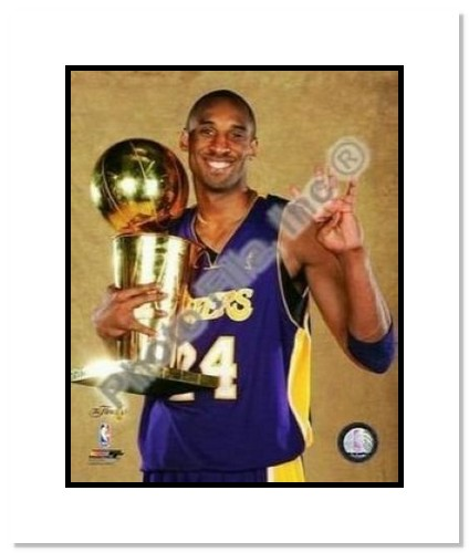 Kobe Bryant Los Angeles Lakers NBA Double Matted 8x10 Photograph 2009 NBA Finals Championship Trophy 4x Winner