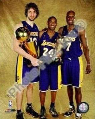 Kobe Bryant, Pau Gasol and Lamar Odom Los Angeles Lakers NBA 8x10 Photograph 2009 NBA Finals Champions and MVP Trophy