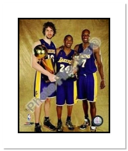 Kobe Bryant, Pau Gasol and Lamar Odom Los Angeles Lakers NBA Double Matted 8x10 Photograph 2009 NBA Finals Champions and MVP Trophy