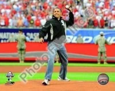 Barack Obama MLB 8x10 Photograph 2009 All Star Game First Pitch