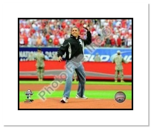 Barack Obama MLB Double Matted 8x10 Photograph 2009 All Star Game First Pitch