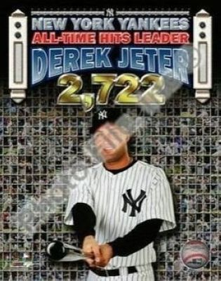 Derek Jeter New York Yankees MLB 8x10 Photograph Career Hit 2,722 Cap Collage