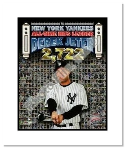 Derek Jeter New York Yankees MLB Double Matted 8x10 Photograph Career Hit 2,722 Cap Collage