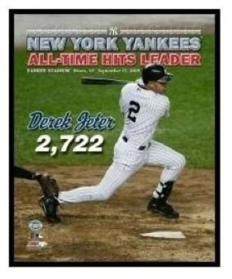 Derek Jeter New York Yankees MLB 8x10 Photograph Career Hit 2,722 Swinging Overlay
