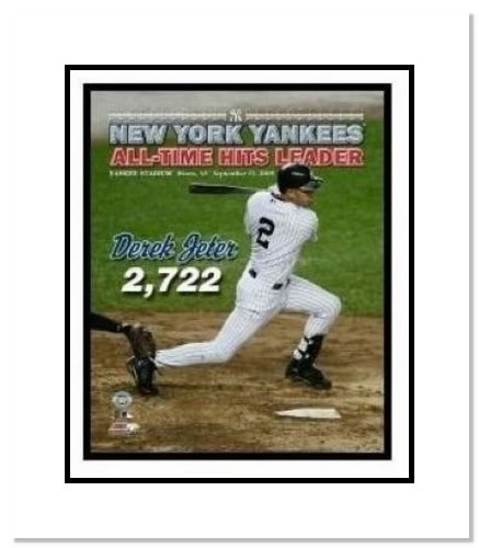 Derek Jeter New York Yankees MLB Double Matted 8x10 Photograph Career Hit 2,722 Swinging Overlay