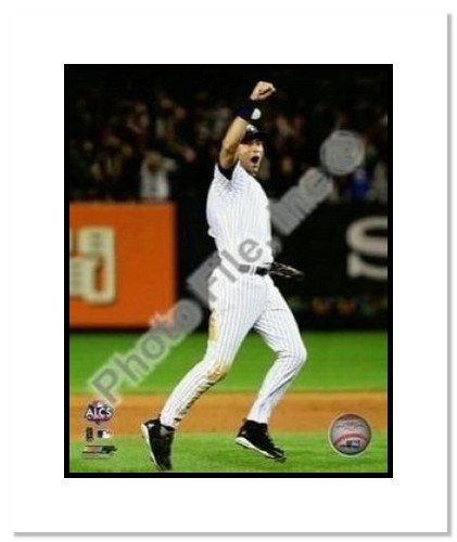 Derek Jeter New York Yankees MLB Double Matted 8x10 Photograph 2009 ALCS Game 6 Celebration