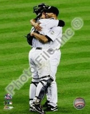 Mariano Rivera and Jorge Posada New York Yankees MLB 8x10 Photograph 2009 ALCS Game 6 Celebration