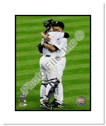 Mariano Rivera and Jorge Posada New York Yankees MLB Double Matted 8x10 Photograph 2009 ALCS Game 6 Celebration