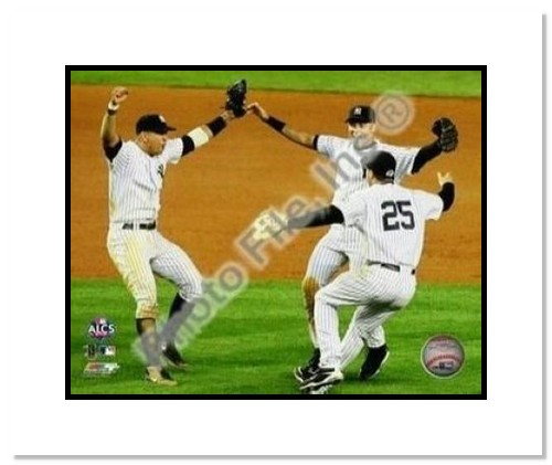 Alex Rodriguez Derek Jeter and Mark Teixeira New York Yankees MLB Double Matted 8x10 Photograph 2009 ALCS Game 6 Celebration