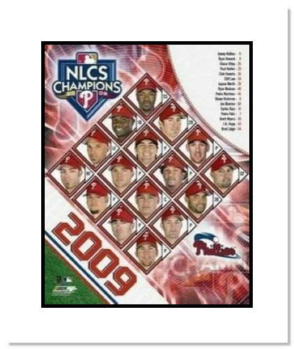 Philadelphia Phillies MLB Double Matted 8x10 Photograph 2009 NLCS Champions Team Collage