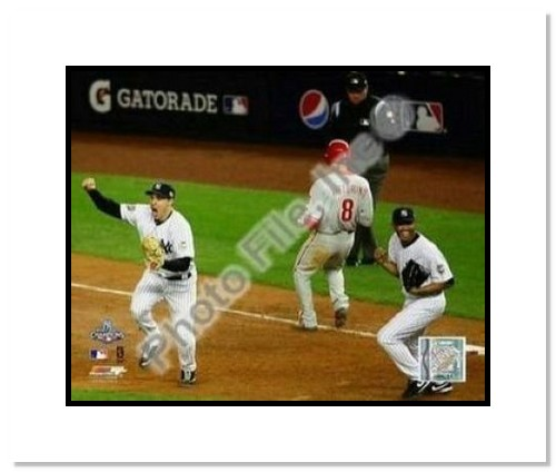 Mark Teixeira and Mariano Rivera New York Yankees MLB Double Matted 8x10 Photograph 2009 World Series Game 6 Last Out