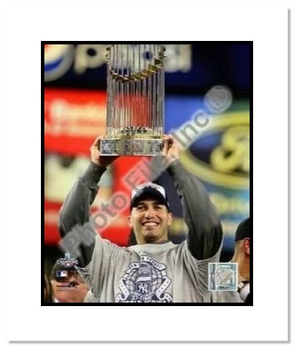 Andy Pettitte New York Yankees MLB Double Matted 8x10 Photograph 2009 World Series Trophy