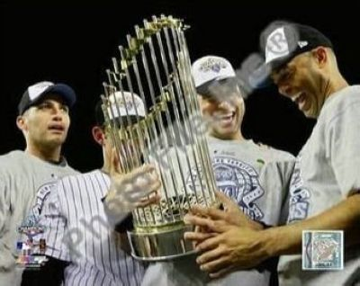 Derek Jeter, Mariano Rivera, Andy Pettitte and Jorge Posada New York Yankees MLB 8x10 Photograph 2009 World Series Trophy Core Four