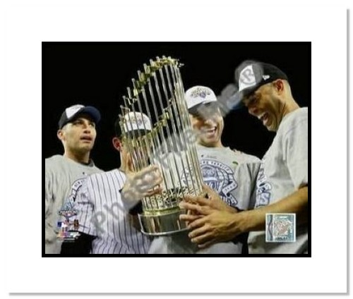 Derek Jeter, Mariano Rivera, Andy Pettitte and Jorge Posada New York Yankees MLB Double Matted 8x10 Photograph 2009 World Series Trophy Core Four