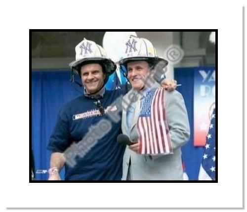 Joe Torre and Mayor Rudy Giuliani New York Yankees MLB Double Matted 8x10 Photograph 2000 World Series Parade