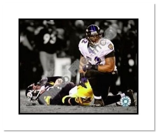 Ray Lewis Baltimore Ravens NFL Double Matted 8x10 Photograph Spotlight