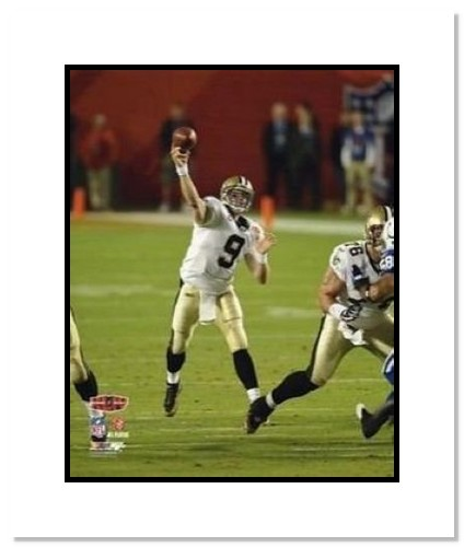 Drew Brees New Orleans Saints NFL Double Matted 8x10 Photograph Super Bowl XLIV Passing