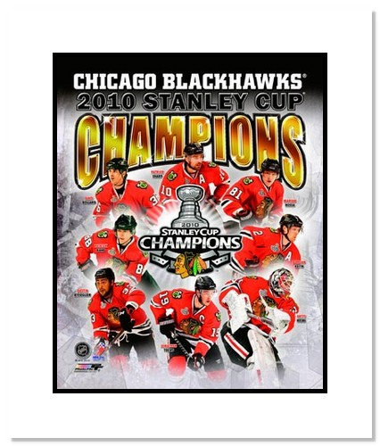 2010 Chicago Blackhawks NHL Double Matted 8x10 Photograph Stanley Cup Champions Collage