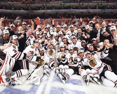 2010 Chicago Blackhawks NHL 8x10 Photograph Stanley Cup Champions Team Celebration