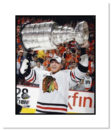 Marian Hossa Chicago Blackhawks NHL Double Matted 8x10 Photograph with 2010 Stanley Cup Trophy