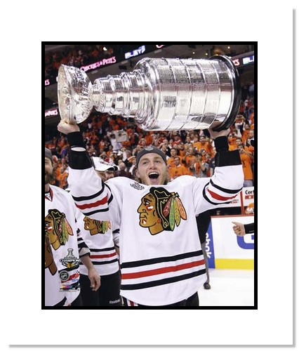 Patrick Kane Chicago Blackhawks NHL Double Matted 8x10 Photograph with 2010 Stanley Cup Trophy