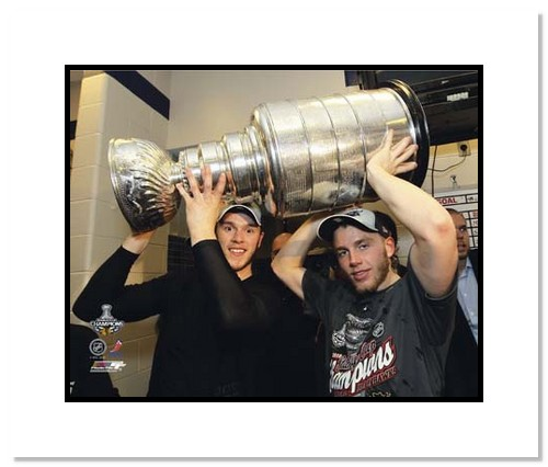 Jonathan Toews and Patrick Kane Chicago Blackhawks NHL Double Matted 8x10 Photograph with 2010 Stanley Cup Trophy