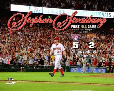 Stephen Strasburg Washingtion Nationals MLB 8x10 Photograph First Career Game