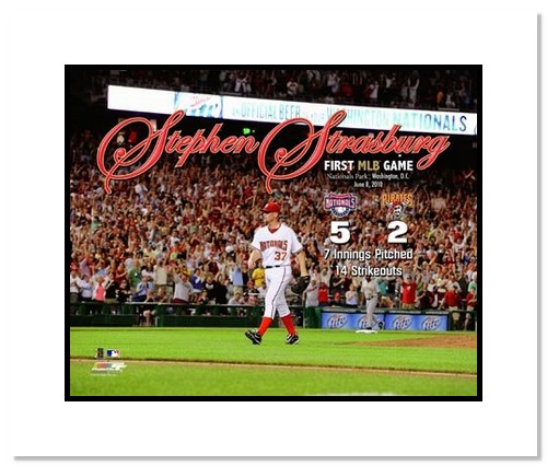 Stephen Strasburg Washingtion Nationals MLB Double Matted 8x10 Photograph First Career Game