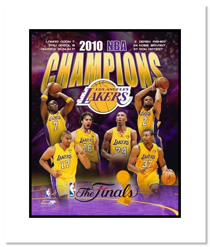 2010 Los Angeles Lakers NBA Double Matted 8x10 Photograph NBA Finals Champions Collage
